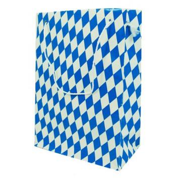 Präsent-Tragetasche, mit Kordel; 16 + 8 x 22 cm; Bayrisch Raute; weiß-blau; mit weißer Kordel; Papier, glatt; für bis 2,0 Kilo geeignet