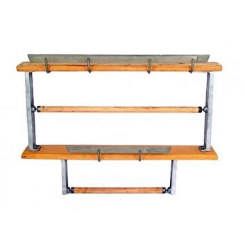 Abroller Holz 2-fach kombiniert; 30 cm + 50 cm; Untertisch, waagrecht; 2x glattes Messer; für Papier; Holz; Sonderpreis,da leichte Gebrauchsspuren
