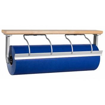 Abroller Holz; 75 cm; Untertisch, waagrecht; glattes Messer; für Papier; Holz, Typ B: alufarben, Bügel vernickelt