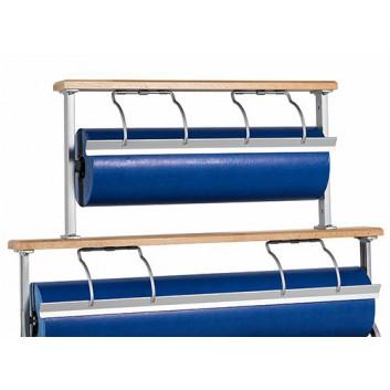 Abroller Holz 2-fach kombiniert; 50 cm + 50 cm; Tisch, waagrecht; unten:glattes, oben gezahntes Messer; für Papier und Folie; Holz