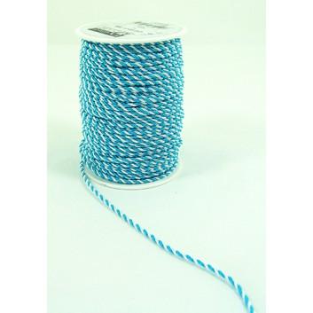 Kordel; 3 mm x 100 m; Landesfarbe Bayern; weiß-blau; 2-farbig; 100% Polyester, bis 60° C waschbar