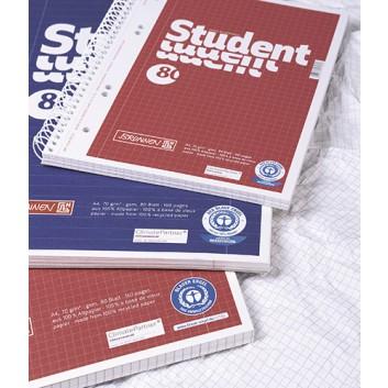 Brunnen Recycling-Collegeblock/Spiralblock; DIN A4; liniert / kariert; 70 g/qm, Recycling; 80 Blatt; Spirale, seitlich; Deckblatt rot/blau