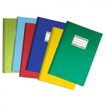 HERMA Heftschoner PP; DIN A5; uni, Baststruktur; 6 Farben; mit Beschriftungsetikett; aus PP; je 2x rot+dgrün+dblau+rot 1xhgrün+h.blau