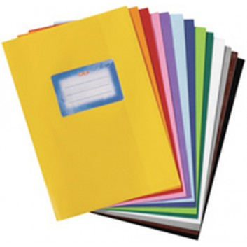 HERMA Heftschoner PP; DIN A5; uni, Baststruktur; rot; 5205034; mit Beschriftungsetikett; aus PP