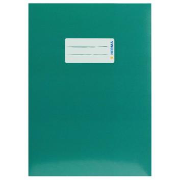 HERMA Heftschoner Karton; DIN A5; uni, leicht glänzend; dunkelgrün; 19767; Karton, extrastark; mit Beschriftungsetikett