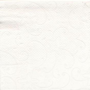Duni Mitteldecke, Dunisilk; 84 x 84 cm; Blüten Ton-in-Ton; weiß; Dunisilk abwaschbar; Breite x Länge