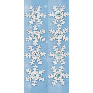 Sigel Winter-Schmuck-Etiketten; 69 x 140 mm (Blattformat); Frozen Snowflakes; 3D-Handmade mit Prägung und Applikation; CS303