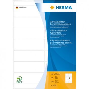 HERMA Adress-Etiketten; 102,0 x 38,0 mm; weiß; Papier; permanent; Ecken agerundet; für Schreibmaschine o. Handbeschriftung; 100 Blatt; 14 Etiketten