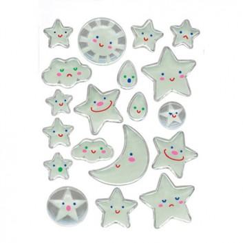 HERMA Schmucketiketten; Trägerblatt (B x H): 81 x 109 mm; Sonne, Sterne, Mond, Wolken, Tropfen; Kunststoff; permanent haftend; Magic Stone