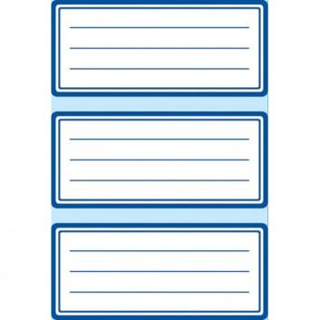 HERMA Buchetiketten; 76 x 35 mm; weiß mit blauem Rand und Linien; Papier; permanent haftend; zum Beschriften mit allen Schreibgeräten; 9 Etiketten
