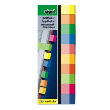 Sigel Haftmarker Multicolor; 50 x 150 mm; 10 Farben sortiert; Papier; Standard, ablösbar; 10 Blöcke á 50 Blatt